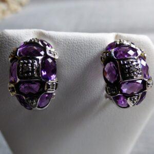 14KW Gold Amethyst and Diamond Earrings