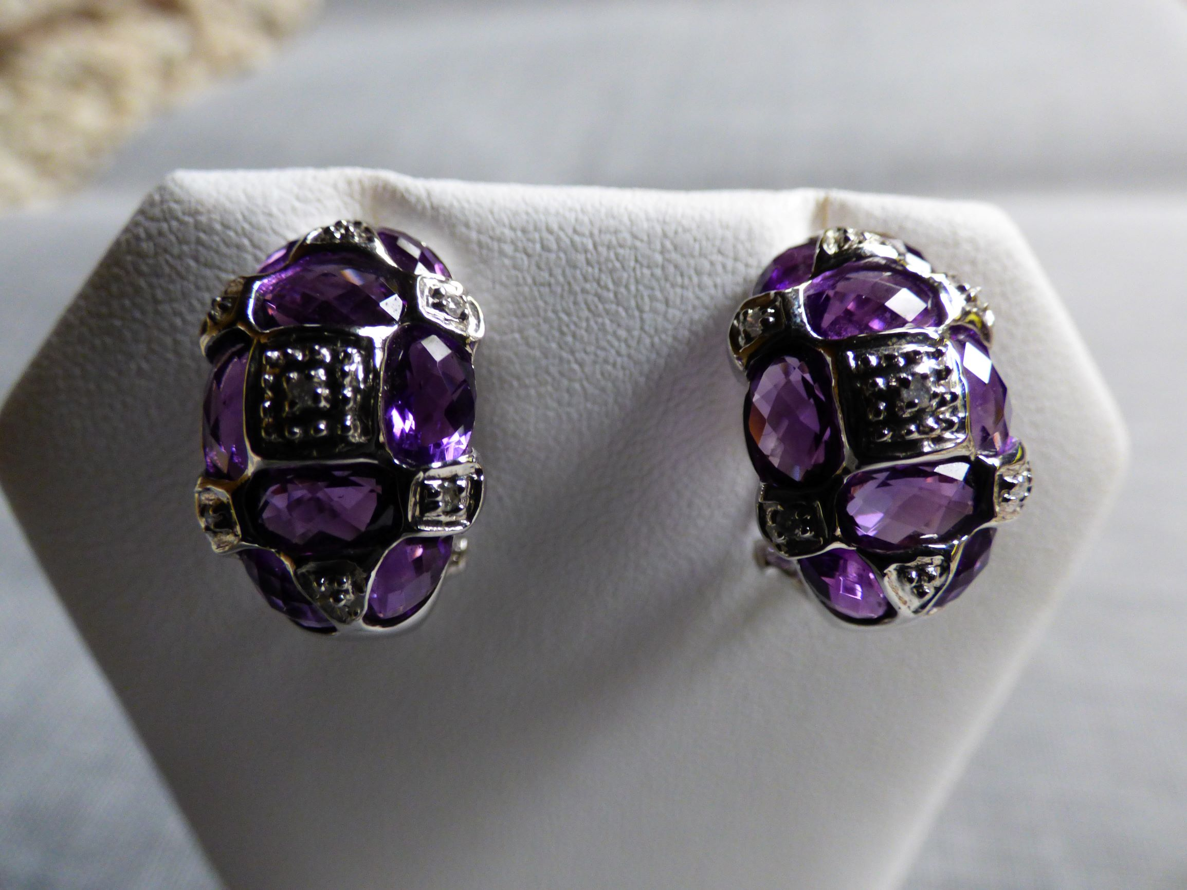 14KW Gold Amethyst and Diamond Earrings